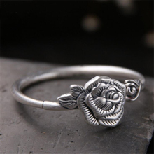 925 Sterling Silver Hand-carved Rose Solid Opening Trendy Personality Simple Pure Lotus Ladys Bracelet