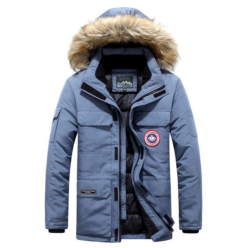 American Military Outdoor Overcoat Real Fur Collar Canada Parkas Men Windbreaker Brand Down Coat -40 Celsius Goose Down Jacket