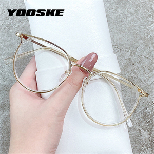 YOOSKE Cat Eye Glasses Frames Anti Blue Light Eyeglasses for Women Retro Optical Spectacles Ladies Fake Eyewear Myopia Frame