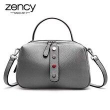 Zency 100% Echte Koeienhuid Leer Mode Dame Crossbody Bag Hoge Kwaliteit Tote Handtas Kussen Schoudertassen Roze Rood Zwart