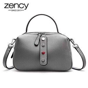 Image 1 - Zency 100% Real Cowhideหนังแฟชั่นผู้หญิงกระเป๋าCrossbodyคุณภาพสูงกระเป๋าถือไหล่กระเป๋าสีชมพูสีแดงสีดำ