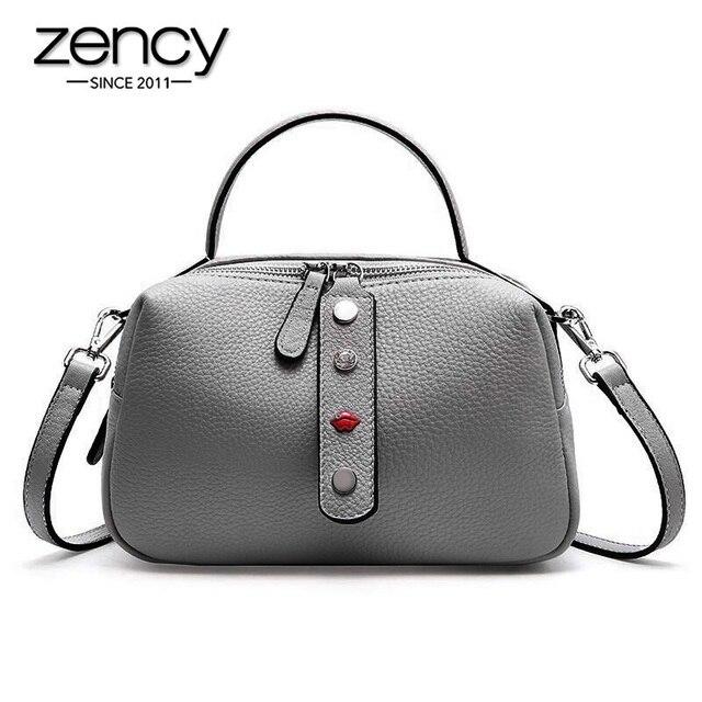 Zency 100% Real Cowhideหนังแฟชั่นผู้หญิงกระเป๋าCrossbodyคุณภาพสูงกระเป๋าถือไหล่กระเป๋าสีชมพูสีแดงสีดำ