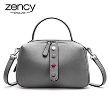 Zency 100% Real Cowhide Leather Fashion Lady Crossbody Bag High Quality Tote Handbag Pillow Shoulder Bags Pink Red Black