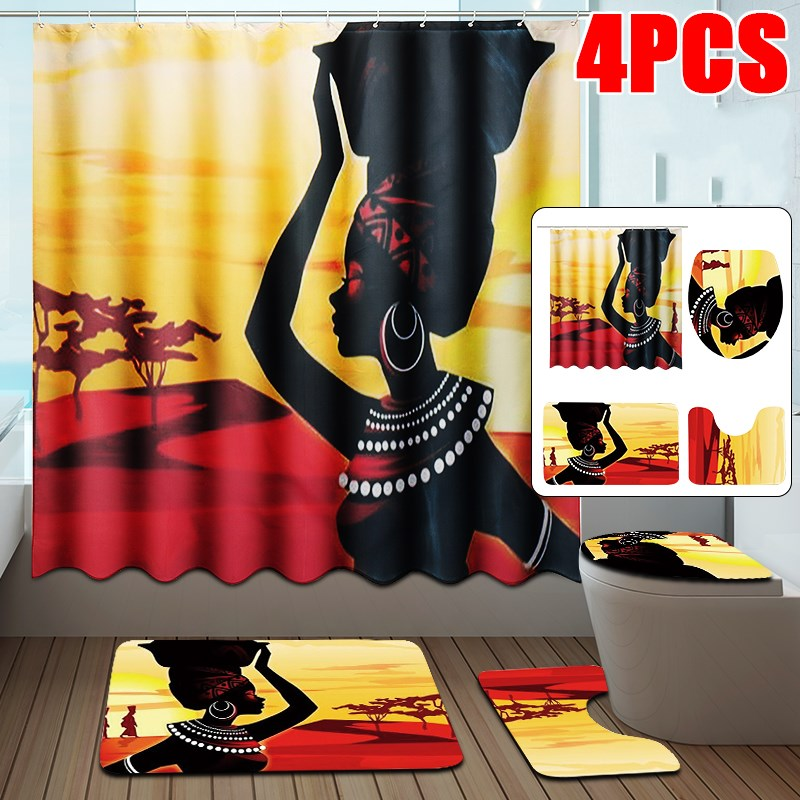 Set of 1//3//4Pcs African Girl Shower Curtain With Bath Mats Rugs Toilet Cover Mat