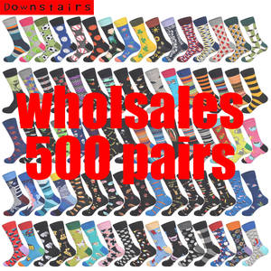 Downstairs Colored-Patterns Online-Customer-Service Happy-Socks 500-Pairs/Lot Wholesales