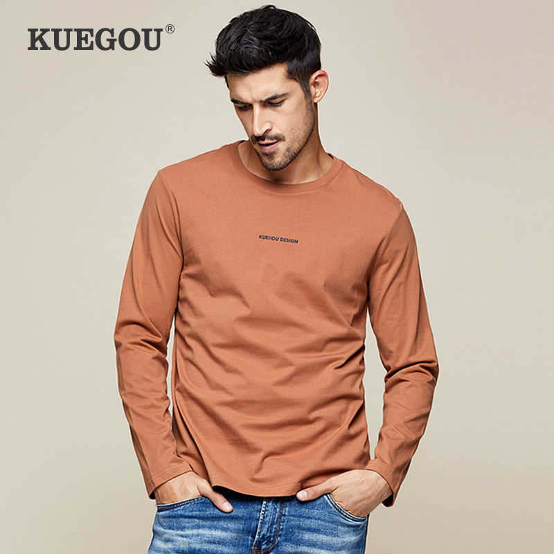 KUEGOU 2019 Autumn 100% Cotton Plain White Print T Shirt Men Tshirt Brand T-shirt Long Sleeve Tee Shirt Fashion Clothes Top 7761