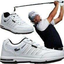 Гольф обувь; Мужская Нескользящая nailless туфли с рифленой подошвой легкий дышащей кожане Мужские Спорт на открытом воздухе обувь