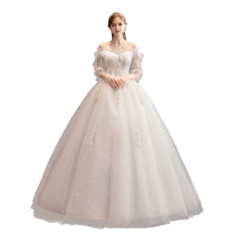 2019 New Sexy Boat Neck Long Sleeve Wedding Dress Elegant Off The Shoulder Embroidery Lace Up Simple Bride Gown Robe De Mariee