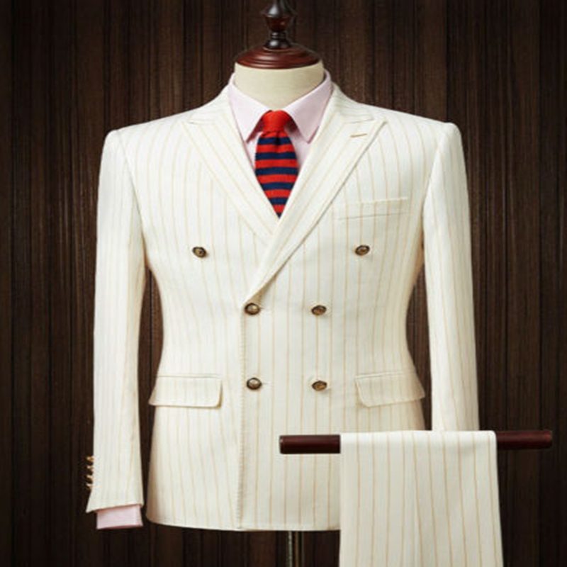 2020 Handsome Tweed Three Piece Men's Gold Striped Beige Suits Double-breasted Peak Lapel Wedding Groom Tuxedos
