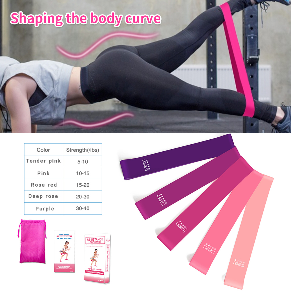 7PC Training Fitness Gum Exercise Gym Strength Resistance Bands Pilates Sport Rubber Fitness Elastic Bands Workout Equipment