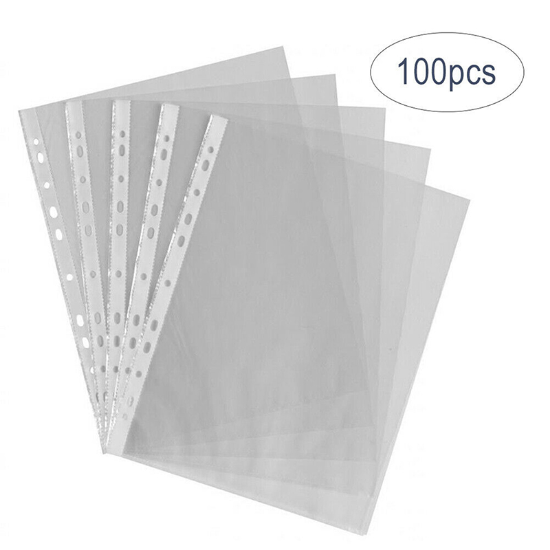 100Pcs/Set A4 Clear Folder 11 Holes Loose Leaf Transparent Paper Storage Bag Documents Sheet Protector Organizer Documents Files