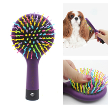 Hair Removal Comb Pet Grooming Tool Cat Dog Bathing Cleaning Massage Brush Pets Fur Hair Shedding Rainbow Comb With Mirror pet grooming comb tool pet hair cleaning brush magic pet dog cat massage hair removal brush dog shedding comb