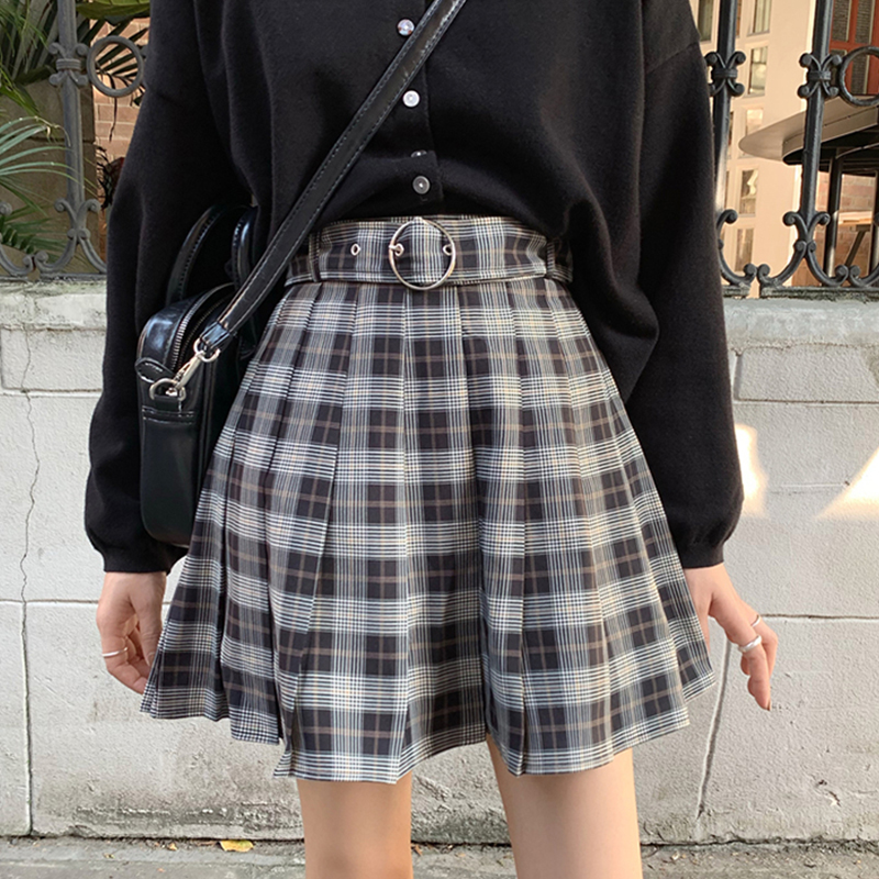 InsGoth Plaid Pleated Mini Skirts Harajuku Grunge Winter Autumn Women Skirts Gothic Streetwear High Waist Fashion Short Skirt