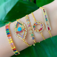Turkish Evil Eye Bracelet Women Gold Color Chain Rainbow Baguette CZ Paved Tennis Bracelets Indian Geometric Star Luxury Jewelry(China)