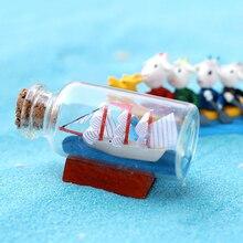 Mediterranean Model Sailing Boat In Bottles Mini Garden Glass Figurines Miniatures Drift Bottle DIY Home Decoration Accessories