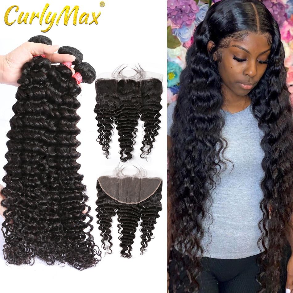 Luvin onda profunda pacotes com fechamento extensão do cabelo humano brasileiro 3 4 pacotes com frontal profunda encaracolado remy extensão do cabelo