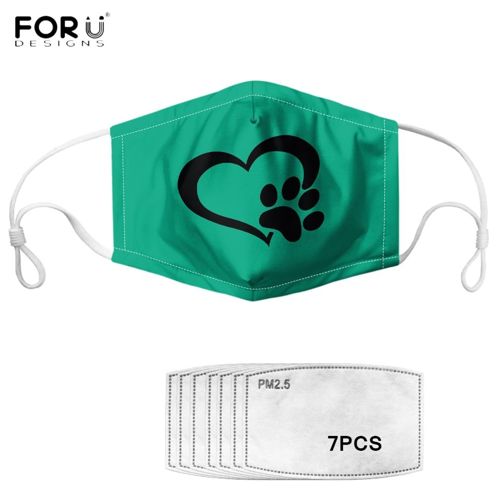 FORUDESIGNS Cute Dogs Paw With Heart Design Elasticity Breath Half Face Face Mask Outdoor Face Mouth Muffle Dustproof Masques