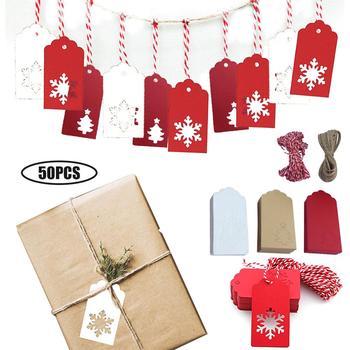 Prezent na boże narodzenie etykiety metki papier pakowy karta życzeń boże narodzenie drzewo dekoracyjne obecny tabliczka ze sznurkiem na prezent na boże narodzenie tanie i dobre opinie RUBBER
