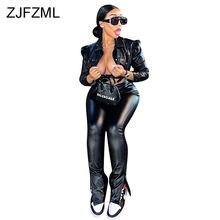 Czarny Pu Faux Leather dwuczęściowy zestaw damski skręcić w dół kołnierz z długim rękawem krótki Top i z nieregularnym brzegiem bandaż Pant stroje