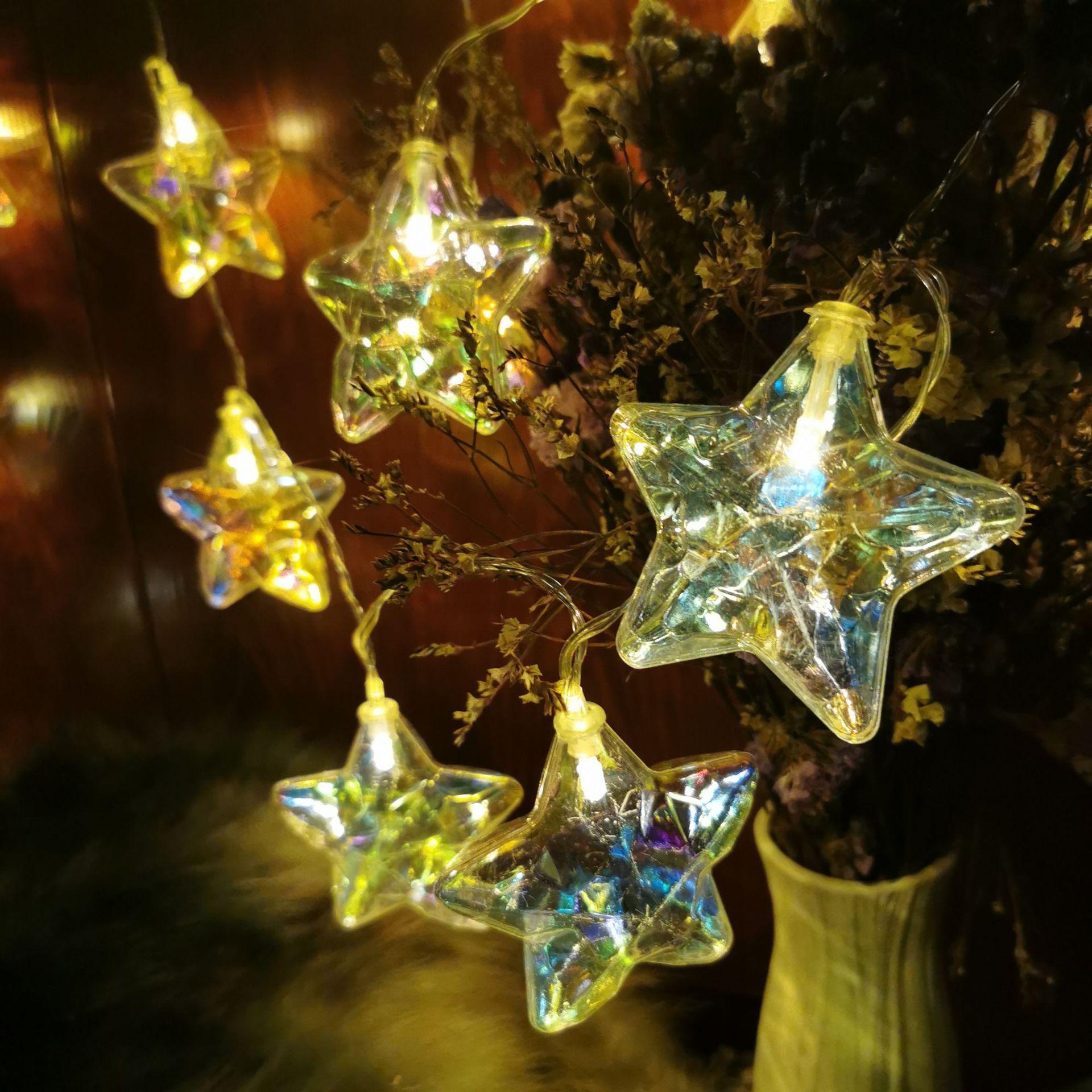 Led Five Pointed Star Light Seven Color Electroplate Star Light String Christmas Room Decoration Light Festival Color Light