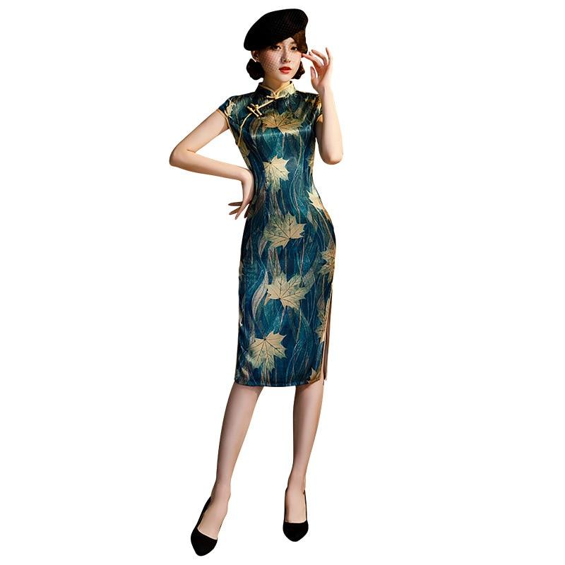 2020 Vintage Print Floral Traditional Chinese Women Dress Satin Sexy Ankle Length Qipao Lady Mandarin Collar Cheongsam