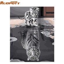 RUOPOTY — Kit de peinture à l'huile avec numéros avec chat, pour décoration intérieure, 40x50cm