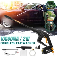 21V Cordless Rechargeable Car Washer High Pressure Hose Cleaner+ 10000mA Battery Car Jet Watering Spray Sprinkler Cleaning Tool