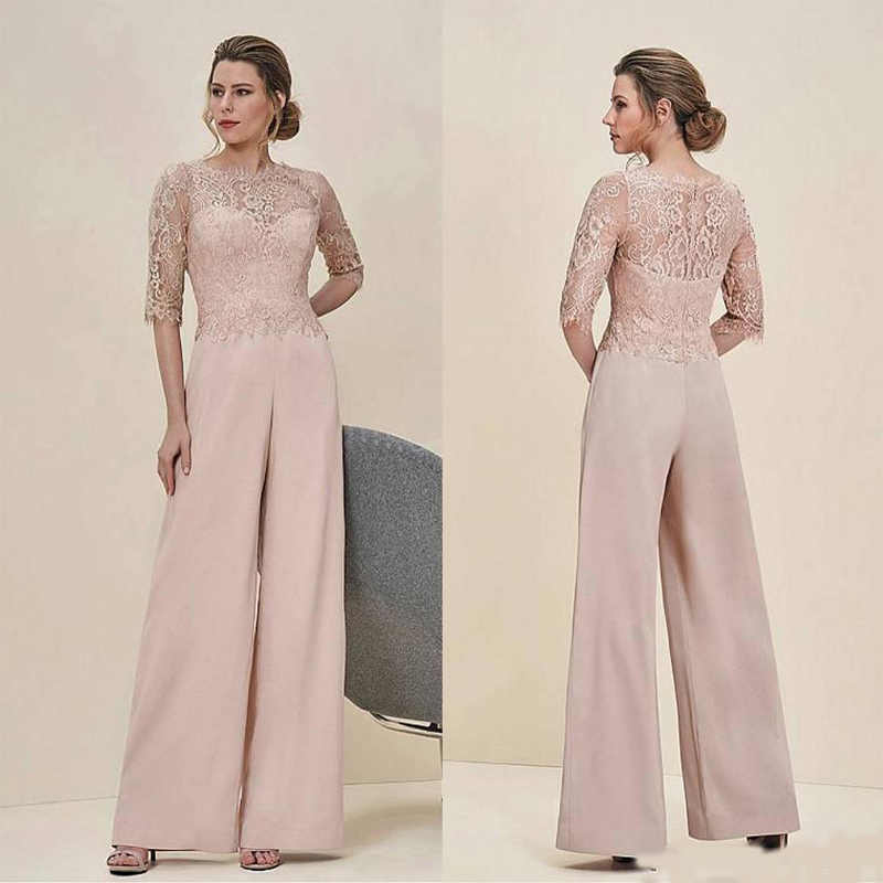 Cheap Jumpsuits Lace Mother Of The Bride Pant Suits Bateau Neck Half Sleeves Wedding Guest Dress Chiffon Plus Size Mothers Groom Mother Of The Bride Dresses Aliexpress