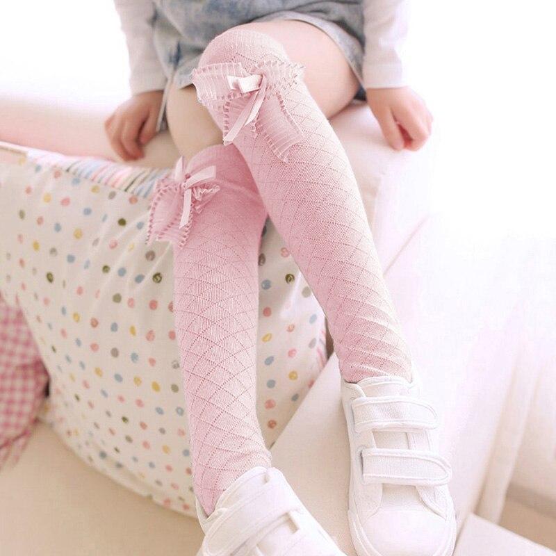 Милые чулки с бантами для девочек, высококачественные кружевные милые чулки для принцесс, модные жаккардовые носки, детские чулки