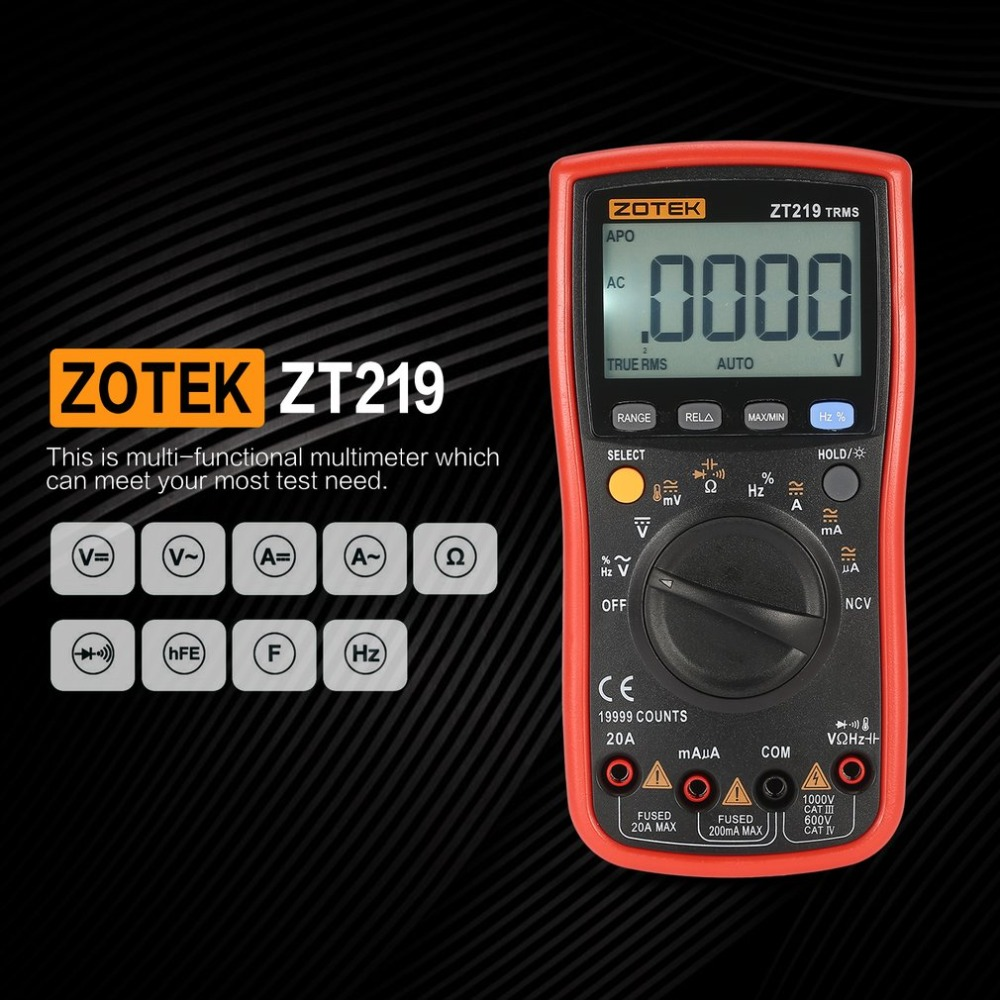 ZOTEK ZT219 19999 Counts True-RMS Auto Range Digital Multimeter AC/DC Voltage Current Voltmeter Capacitance Ohm Diode Meter