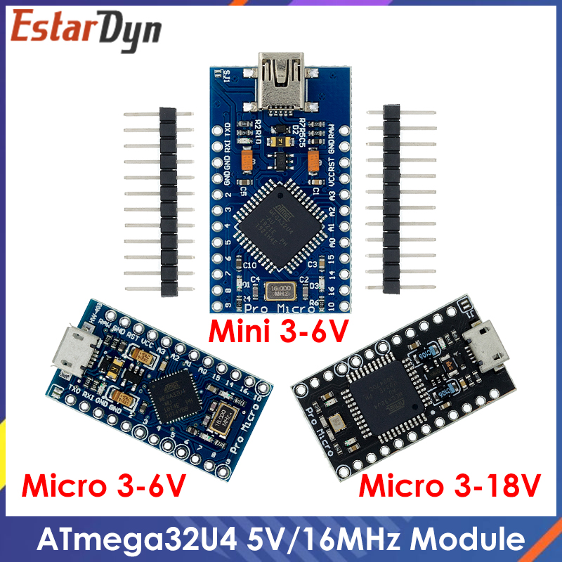 Pro Micro ATMEGA32U4 5V/16 МГц модуль с Загрузчиком для arduino Мини USB/Micro USB с 2 ряда штыревой разъём для arduino