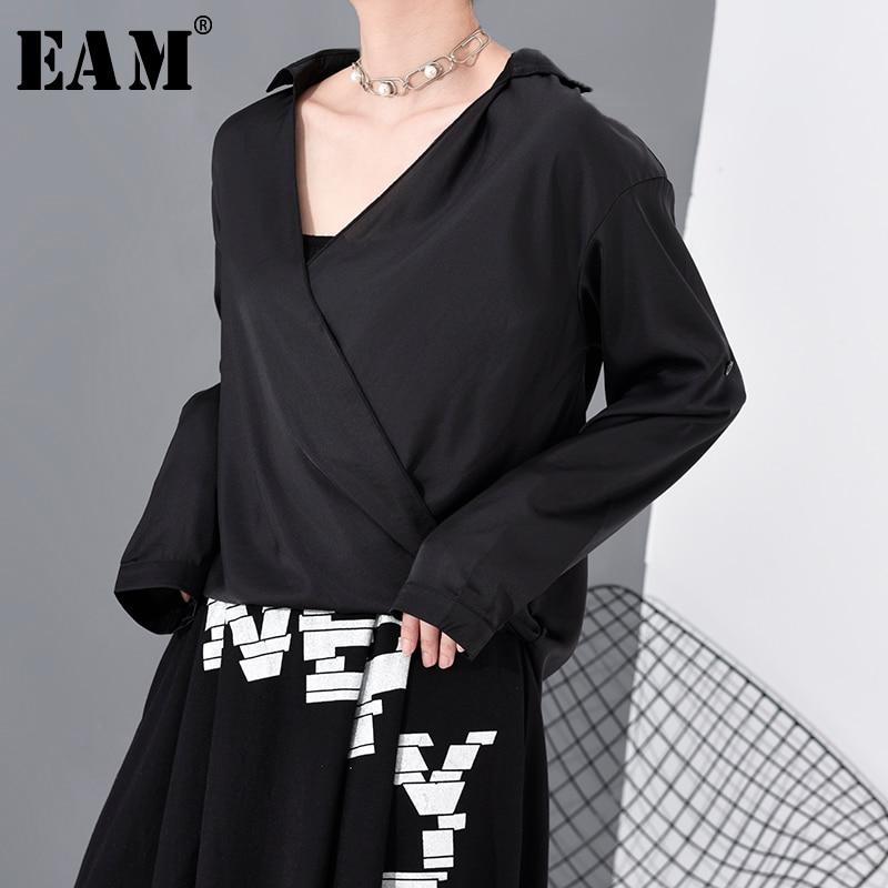 [EAM] Women Black Brief Temperament Blouse New V-collar Long Sleeve Loose Fit Shirt Fashion Tide Spring Summer 2020 1R632
