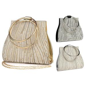 Image 5 - 女性のイブニングバッグダイヤモンドラインストーンクラッチクリスタル日レディ財布結婚式の財布パーティー宴会シルバーハンドバッグクラッチ