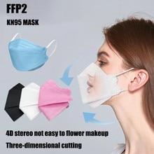 Adulto ffp2 kn95 máscara de boca filtro de 4 camadas não-tecido máscara protetora dustproof preto tecido máscaras descartáveis n95 mascarilla