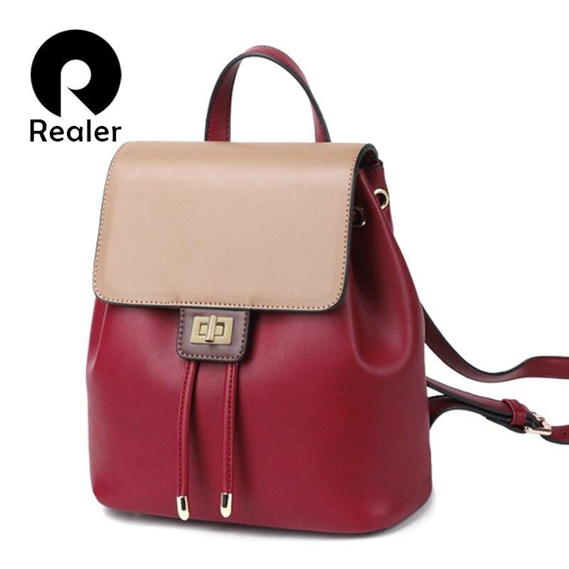 REALER Women Backpack Small Leather School Bags For Women Daypack Casual Rucksack  For Teenager Girls Panelled Shoulder Bag