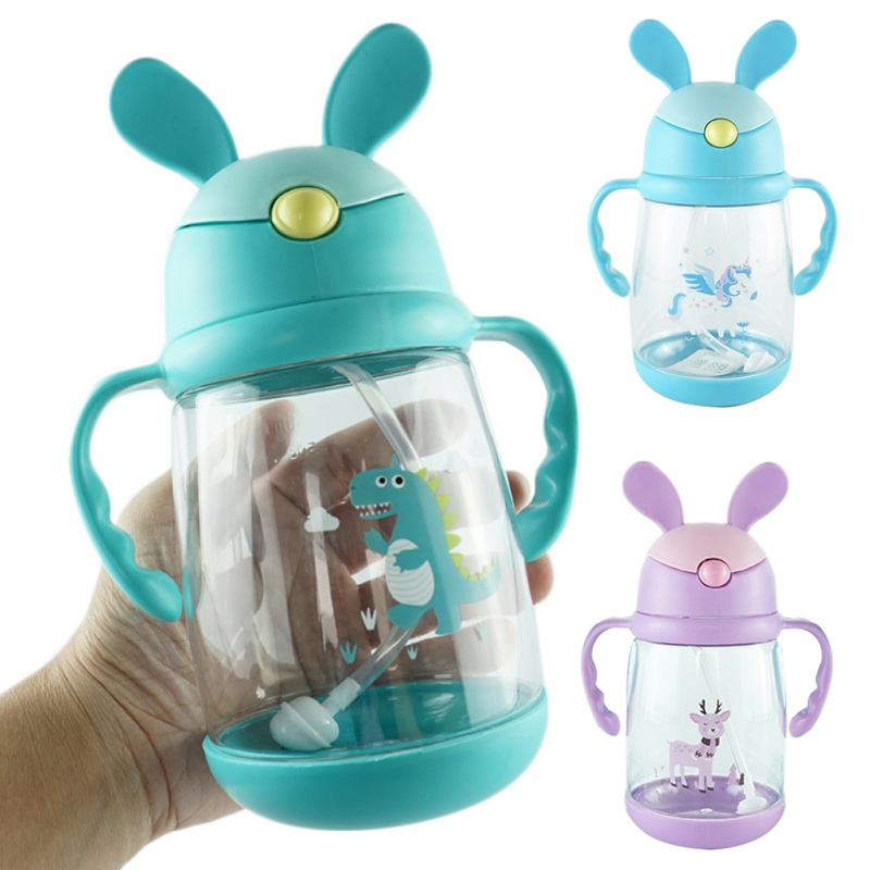 Kids Children's Cartoon Rabbit Ears With Handle Drinking Straw Learning Cup 550ML BPA Free