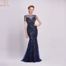 Navy Blue Luxury Mermaid Evening Dresses 2019 Beaded Sleeves Scoop Neck Sequins Elegant Long Gowns Formal Party robe de soiree purple sequins embellished lacerna scoop neck dresses
