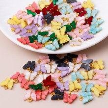 10 pçs 13x13mm 9 cor resina animal borboleta encantos para fazer jóias pingentes colares brincos bonitos diy acessórios artesanais
