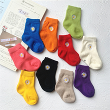 Short Socks Fluorescent Children Foot-Wear Daisy Funny Baby Kids Cotton Cute Solid-Color