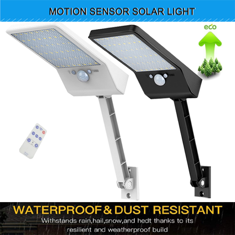 The latest super bright 48 led solar outdoor garden light waterproof wall light remote control solar light With Three Modes