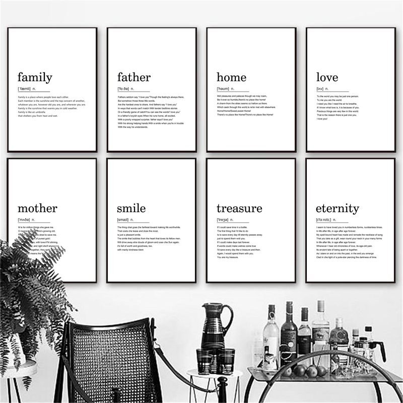 Home Family Smile Love Definition Quotes Nordic Posters And Prints Wall Art Canvas Painting Wall Pictures For Living Room Decor