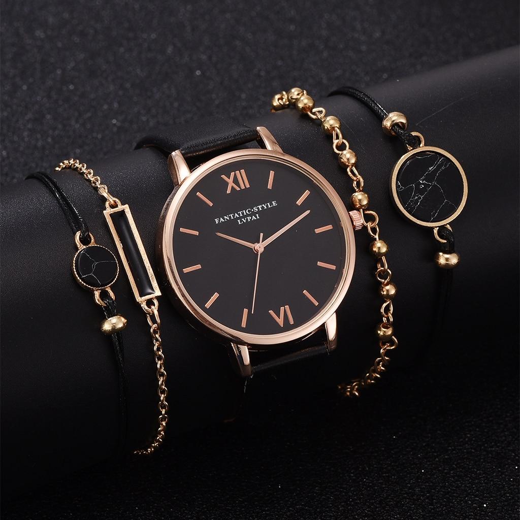Saat seti kadınlar 5 adet kadın kuvars kol saati deri bayan bilezik lüks İzle Casual Relogio Femenino hediye kız arkadaşı için