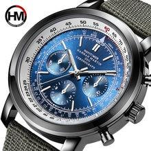 Новые японские мужские водонепроницаемые часы с тройным циферблатом