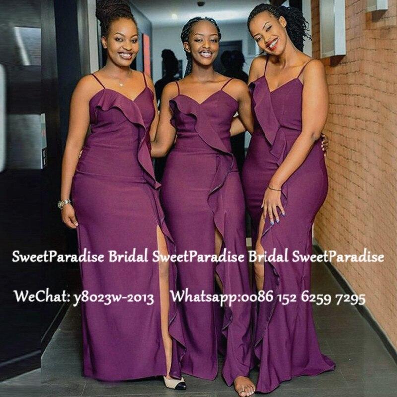 Purple Bridesmaid Dresses With Split Long 2020 Mermaid African Women Spaghetti Strap Wedding Party Dress Vestido De Noiva
