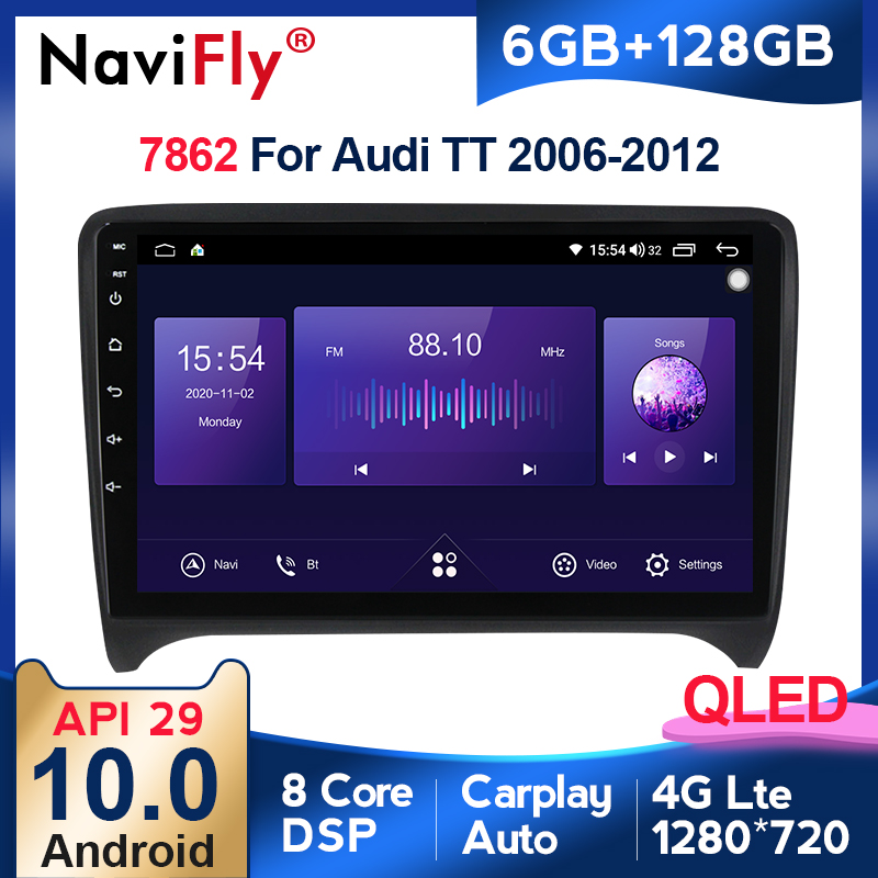 6G + 128G أندرويد 10 QLED 4G LTE راديو السيارة الوسائط المتعددة مشغل فيديو لأودي TT MK2 8J 2006 2007-2012 الملاحة لتحديد المواقع 5G واي فاي RDS