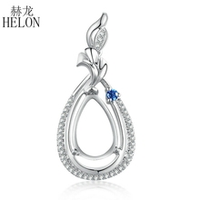 HELON Real Natural Diamond Sapphires Solid 14K White Gold Engagement Fine Gift Semi Mount Pendant Setting Pear Cut 11x7mm