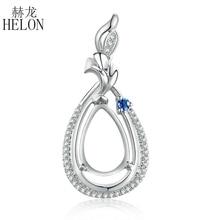 HELON Real Natuurlijke Diamant Saffieren Solid 14K White Gold Engagement Fijne Gift Semi Mount Hanger Instelling Peer Cut 11x 7mm