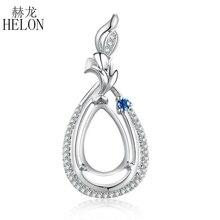 Helon real natural diamante safiras sólido 14 k branco ouro noivado presente fino semi montagem pingente configuração pêra corte 11x7mm