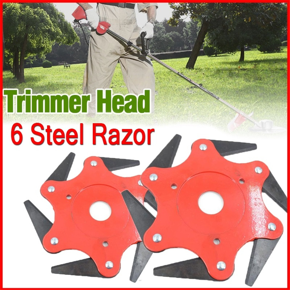 Lawn Mower Trimmer Head 6 Steel Blades Razors 65Mn Lawn Mower Grass Weed Eater Brush Cutter Tool Red For Garden Weed Outdoor