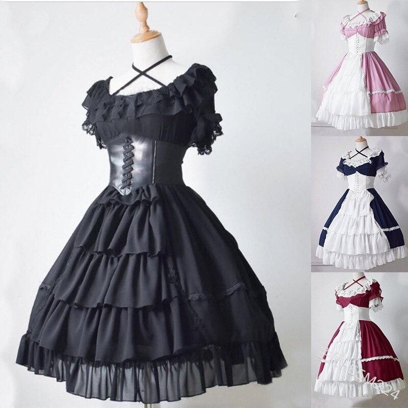2019 roi costume médiéval gothique lolita robe dentelle japonaise kawaii filles princesse femme de chambre vintage femmes jupe arc col rond